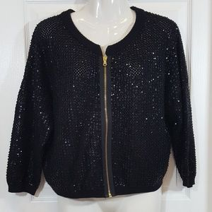 MARC by Marc Jacobs  Beaded Sequin Zip Sweater